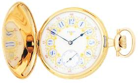 FANCY 14K GOLD ELGIN 381 MULTICOLOR HC POCKET WATCH