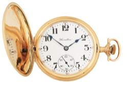 14K GOLD HAMILTON 975 HC POCKET WATCH WBIRD  VILLA
