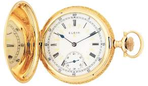 14K GOLD ELGIN MULTICOLOR HC POCKET WATCH WFANCY DIAL