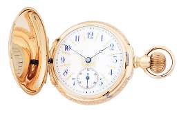 14K GOLD HAMPDEN MULTICOLOR BOX HINGE H/C POCKET WATCH