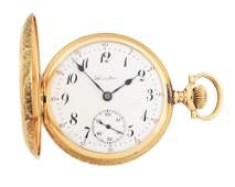 14K GOLD HAMILTON 975 H/C POCKET WATCH W/SHIELD, CIRCA