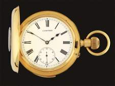 18K GOLD CARTIER MINUTE REPEATER HALF H/C POCKET WATCH.