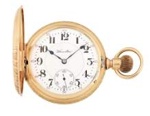 14K PINK GOLD HAMILTON 993 H/C POCKET WATCH W/BIRD,