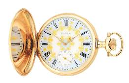 14K GOLD ELGIN MULTICOLOR HC POCKET WATCH WFLOWERS