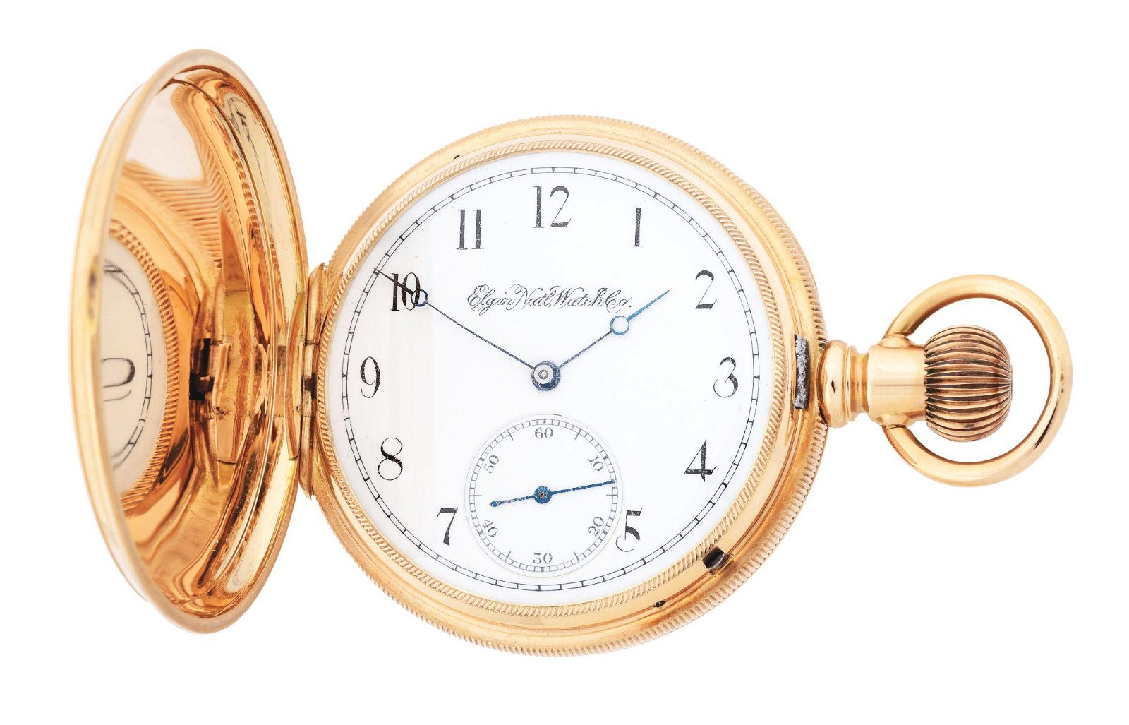 14K GOLD ELGIN H/C POCKET WATCH, CIRCA 1887.