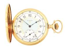 FANCY 14K GOLD ELGIN 383 MULTICOLOR HC POCKET WATCH
