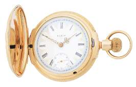 14K GOLD ELGIN 217 MULTICOLOR HC POCKET WATCH WSTAG