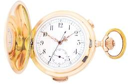 14K GOLD SWISS MINUTE REPEATING HC CHRONOGRAPH POCKET