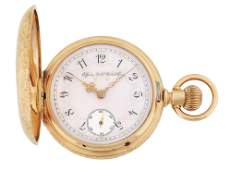 FANCY 14K GOLD ELGIN MULTICOLOR HC POCKET WATCH