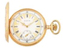 FANCY 14K GOLD ELGIN 339 MULTICOLOR HC POCKET WATCH