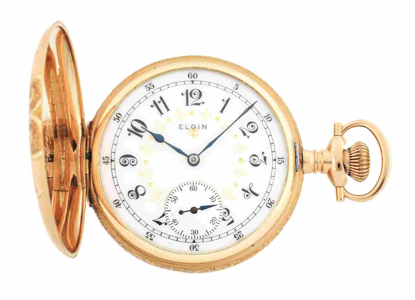 FANCY 14K GOLD ELGIN 312 MULTICOLOR H/C POCKET WATCH