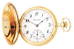 14K GOLD HAMILTON 993 HC POCKET WATCH WBIRD AND