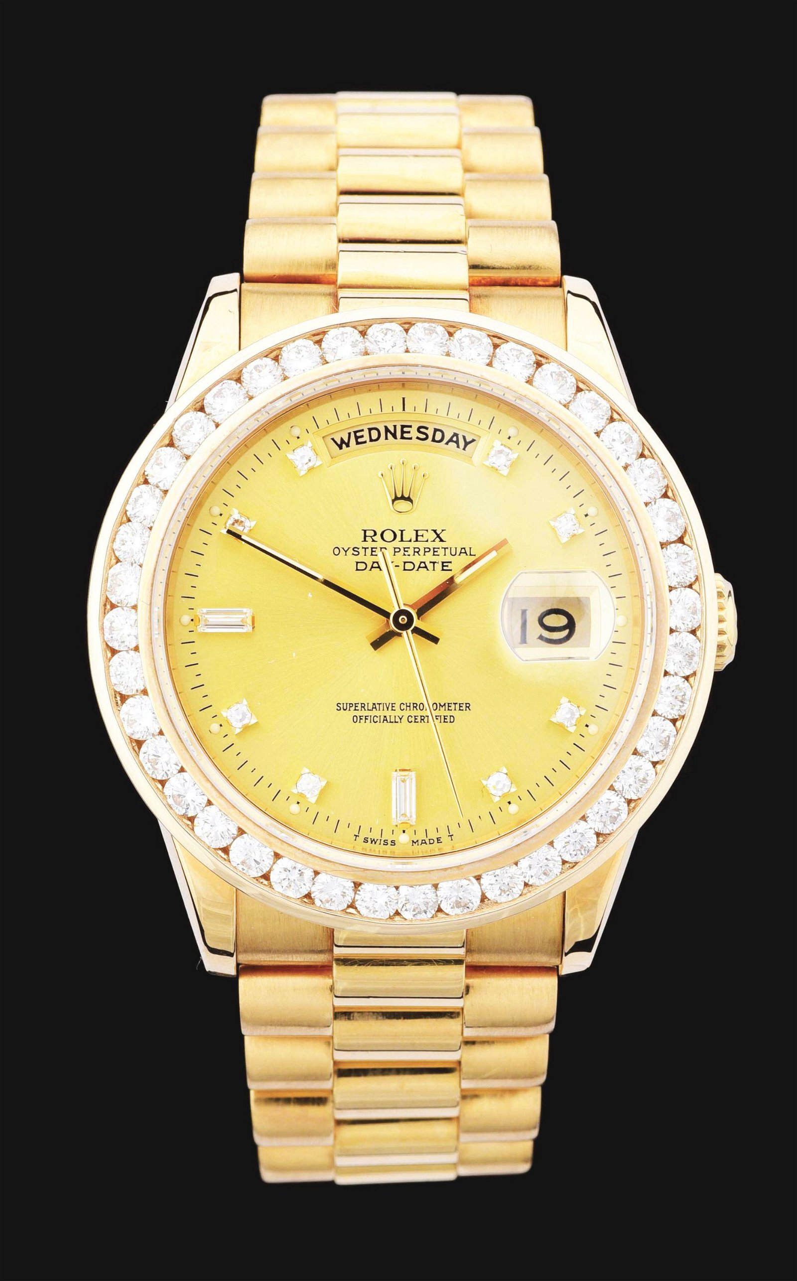 MENS 18K GOLD ROLEX PRESIDENT DAY-DATE CHAMPAGNE
