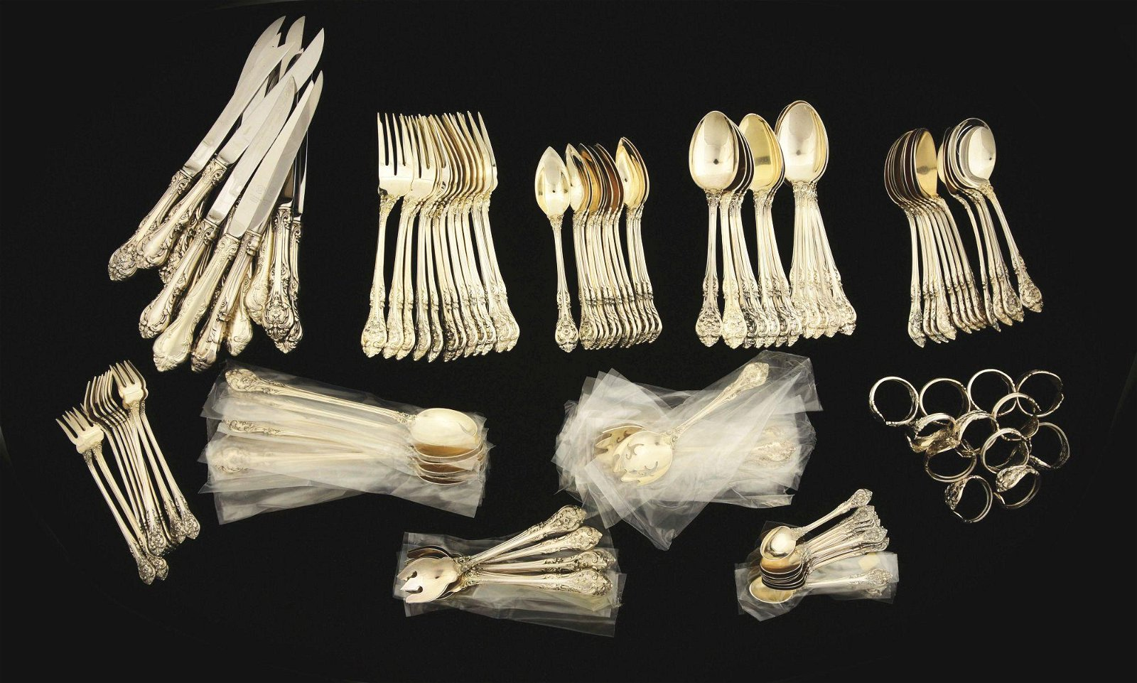 LOT OF 122: GORHAM STERLING 12 PLACE SETTING KING