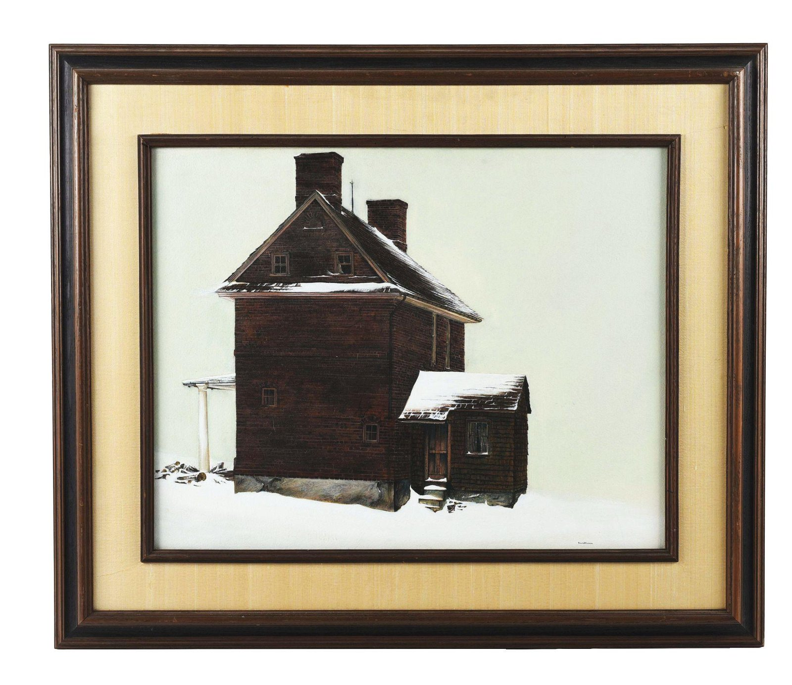 BRICK HOUSE IN THE SNOW.