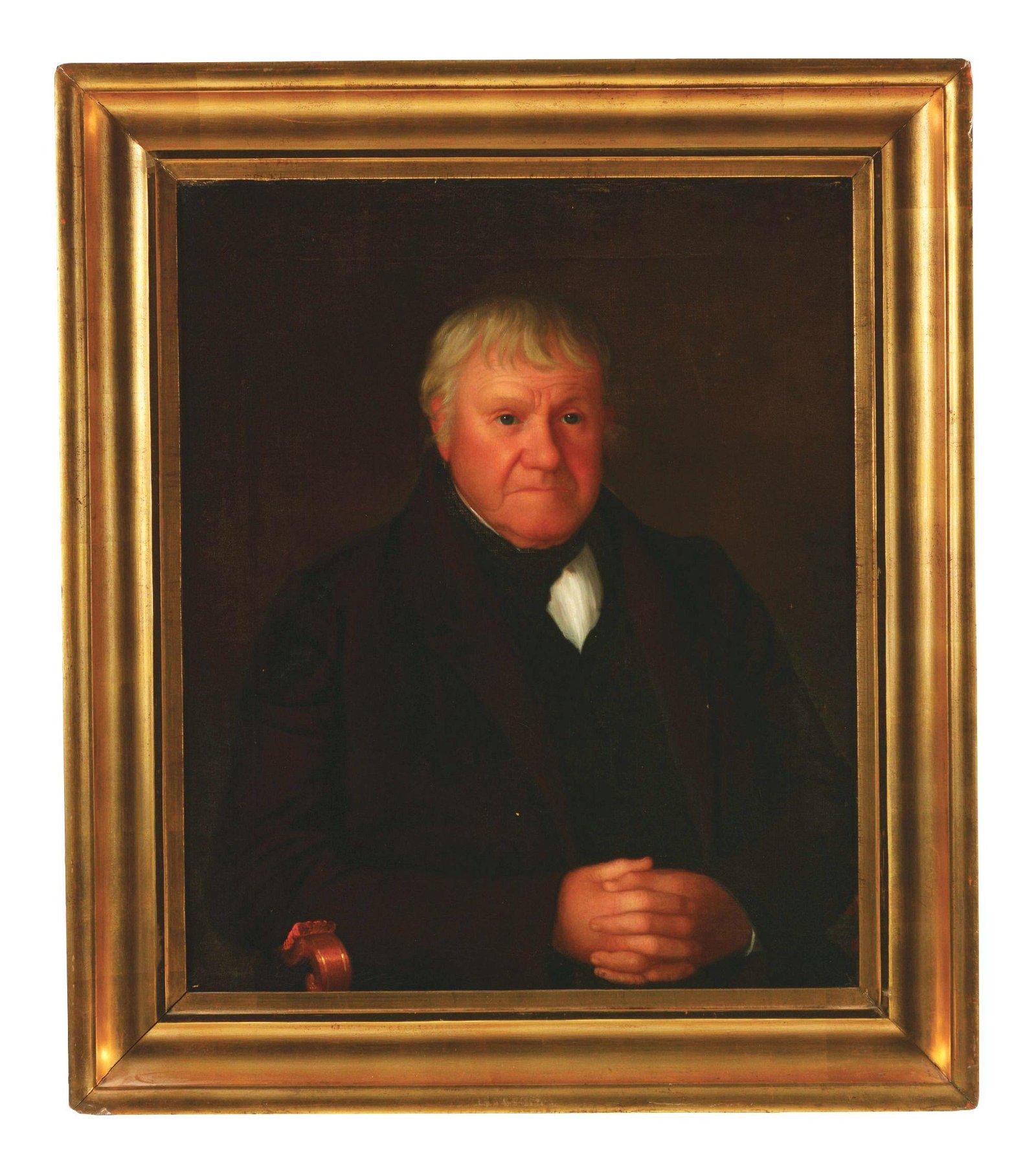 AMERICAN SCHOOL (19TH CENTURY) FOLK ART PORTRAIT OF A