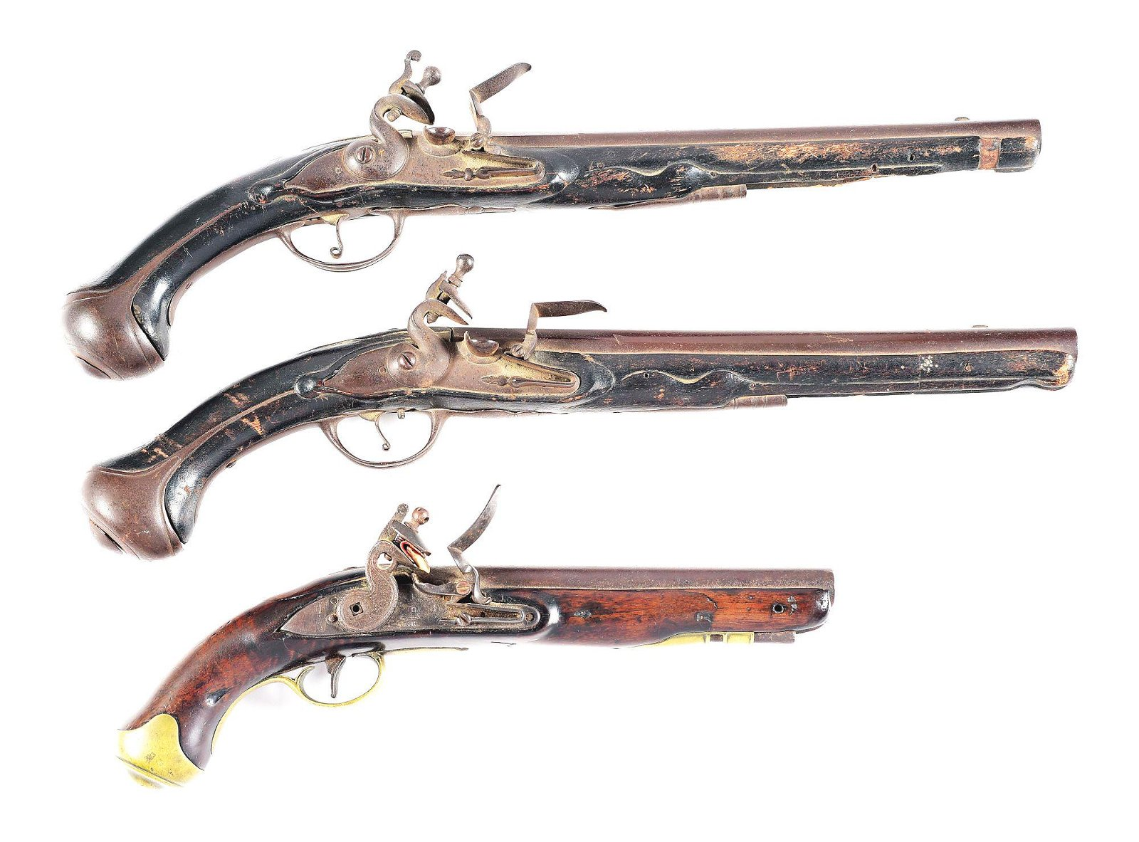 (A) LOT OF 3: VICTORIAN AND TOWER FLINTLOCK PISTOLS.