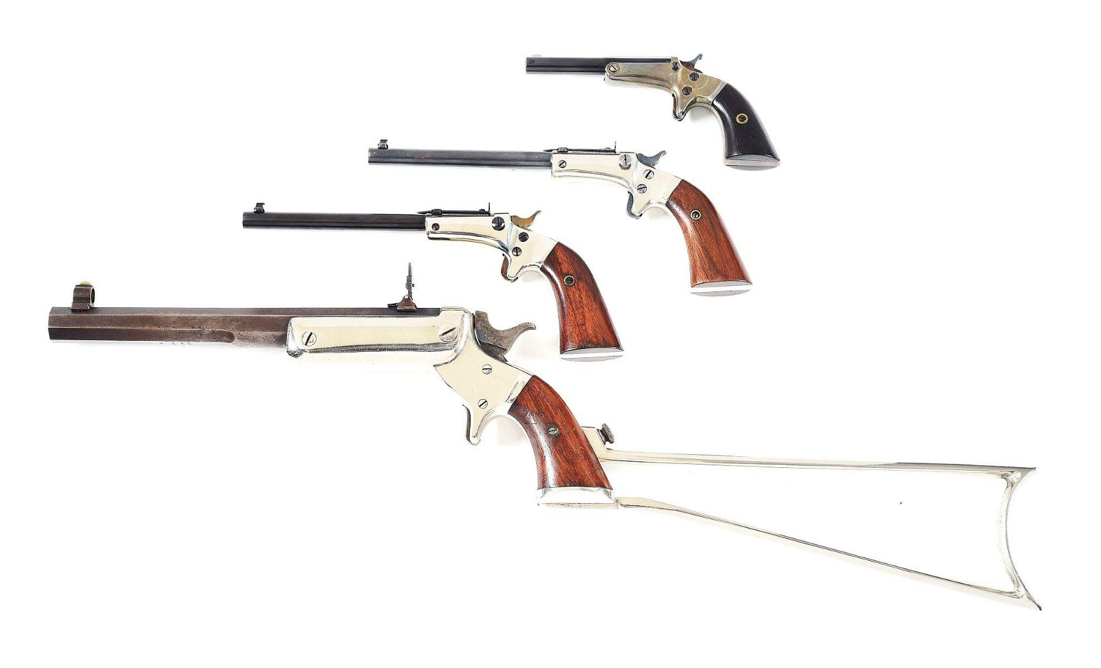 (A) LOT OF 4: STEVENS SINGLE SHOT PISTOLS AND RIFLE.