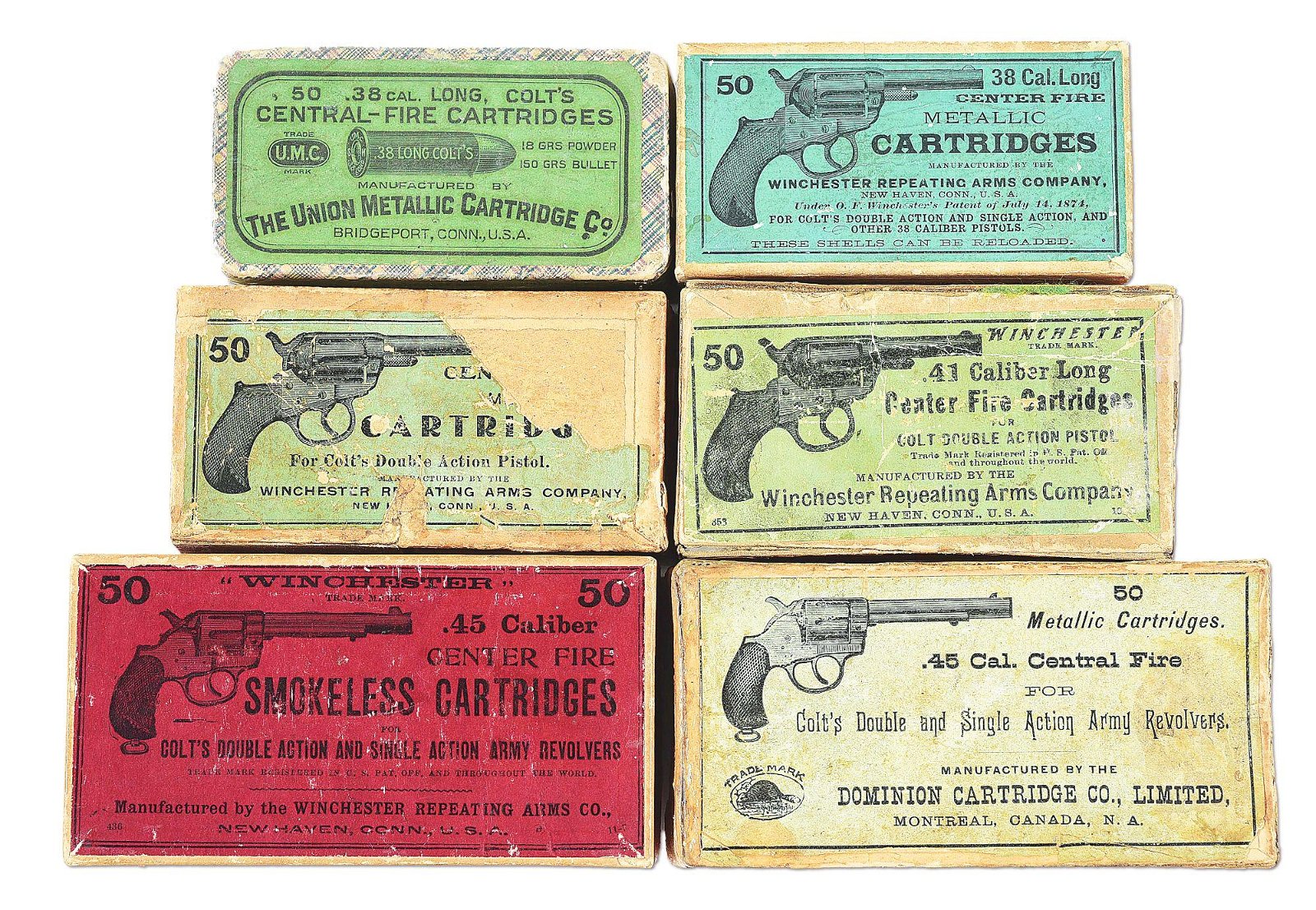 LOT OF 6: ANTIQUE AMMO PICTURE BOXES.