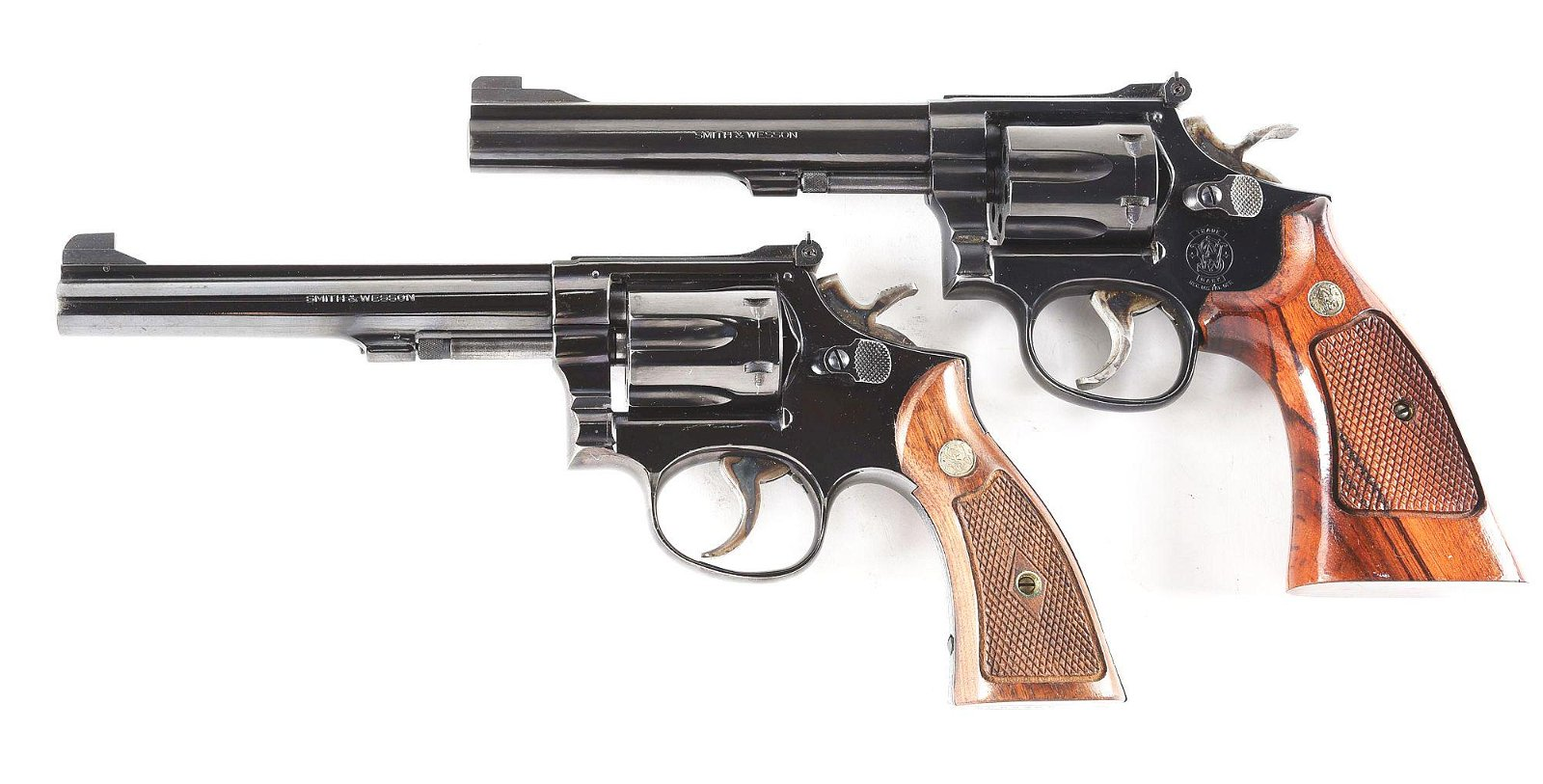 (C) LOT OF 2: SMITH AND WESSON 17-5 AND 17-3 REVOLVERS.