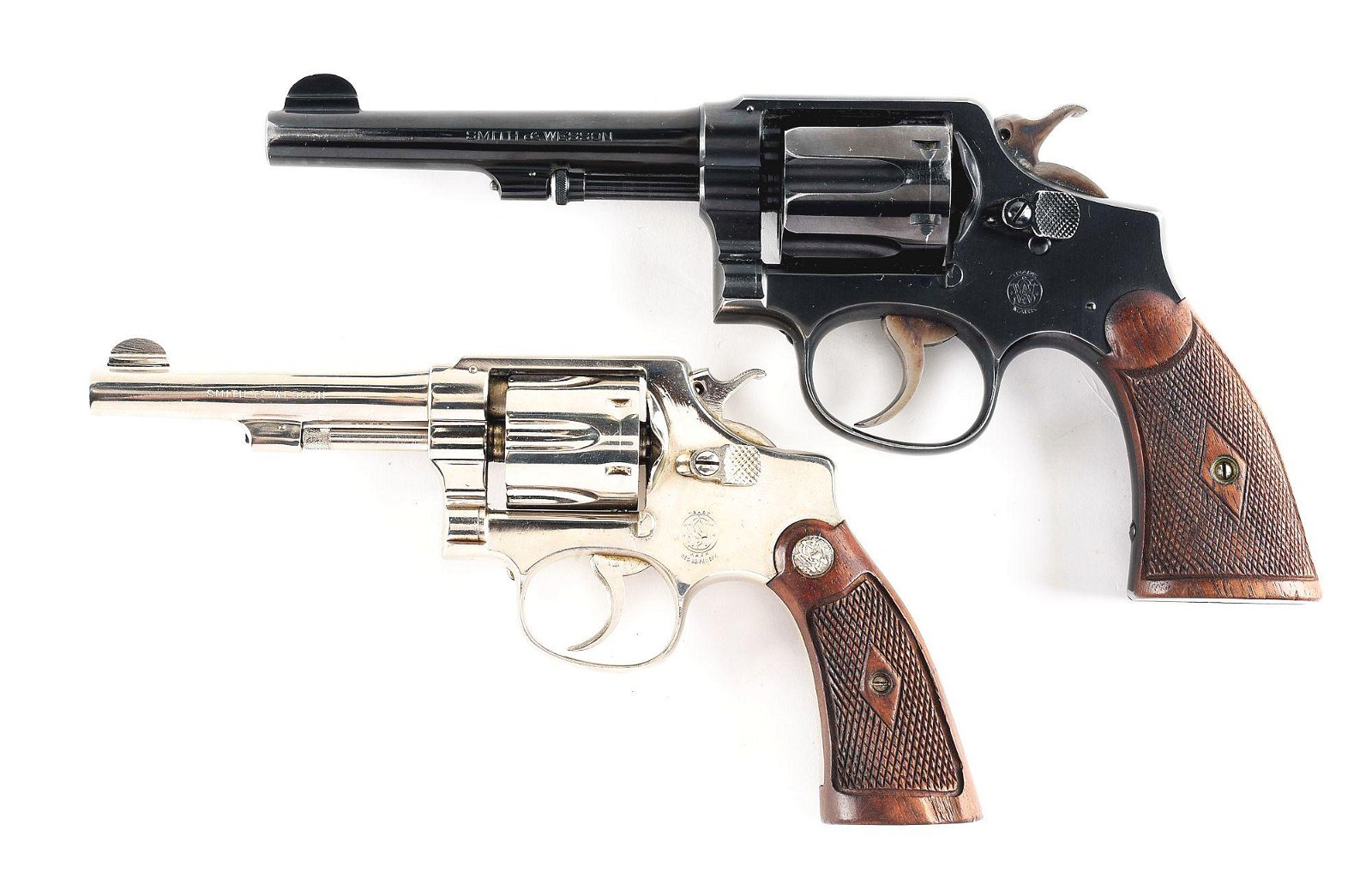 (C) LOT OF 2: SMITH AND WESSON REVOLVERS.