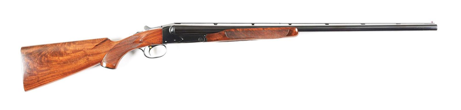 (C) WINCHESTER MODEL 21 12 GAUGE SIDE BY SIDE SHOTGUN.