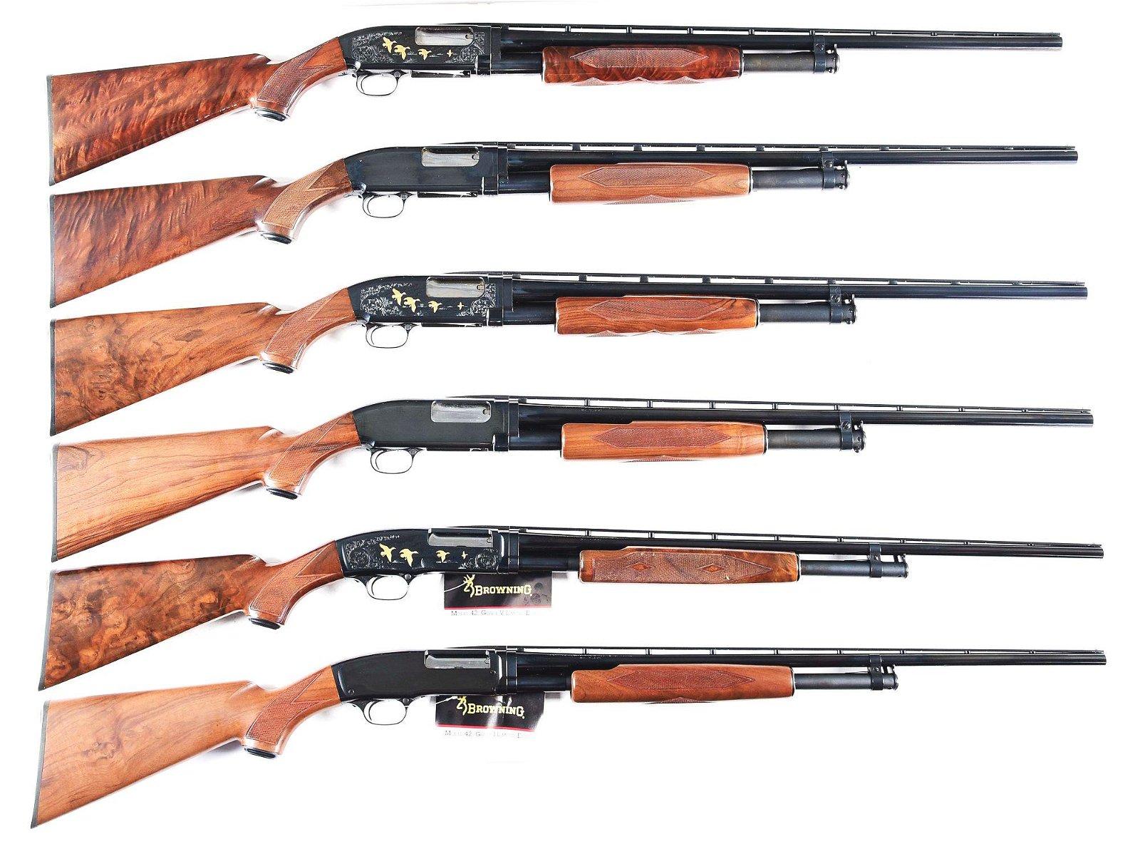 (M) LOT OF 6: BROWNING SLIDE ACTION SHOTGUNS.