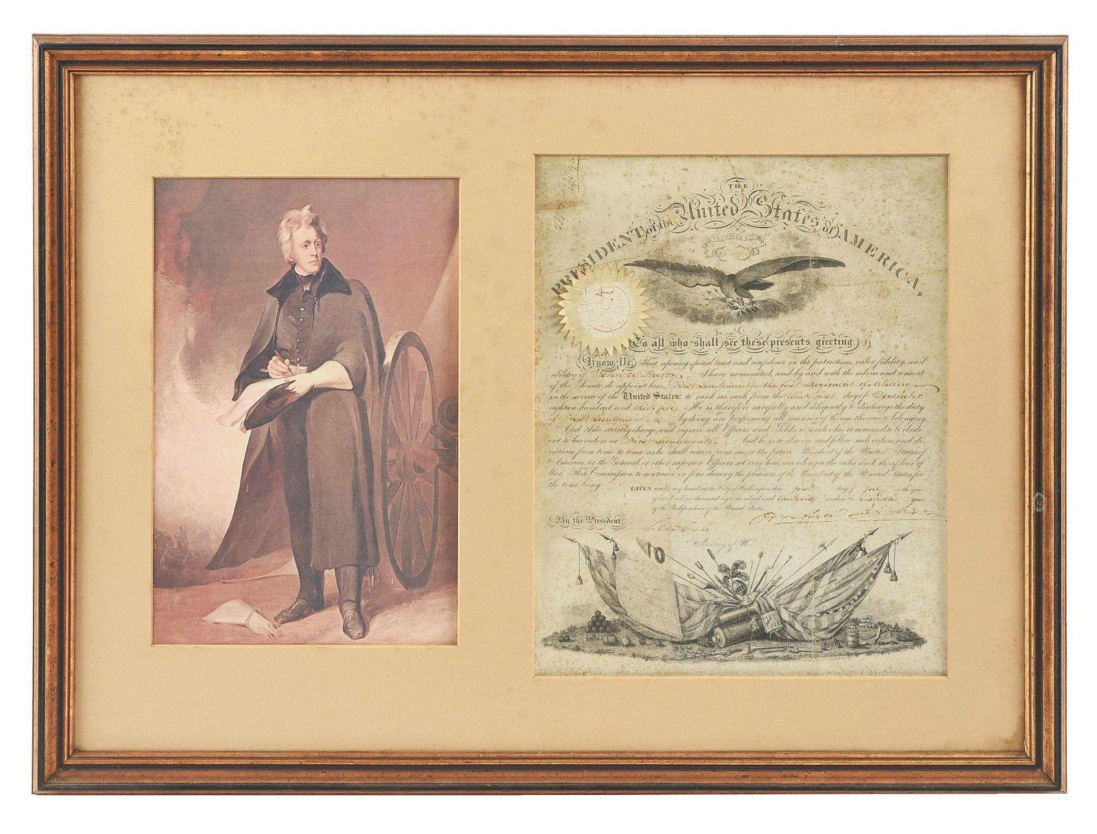 LARGE MATTED AND FRAMED ANDREW JACKSON SIGNED DOCUMENT