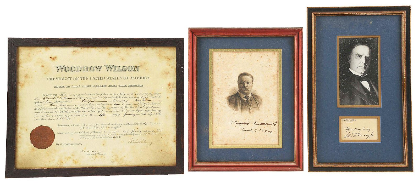 LOT OF 3 FRAMED SIGNATURES: THEODORE ROOSEVELT