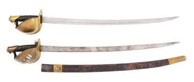 LOT OF 2: US MODEL 1860 NAVAL CUTLASSES, 1 EX-MEDICUS