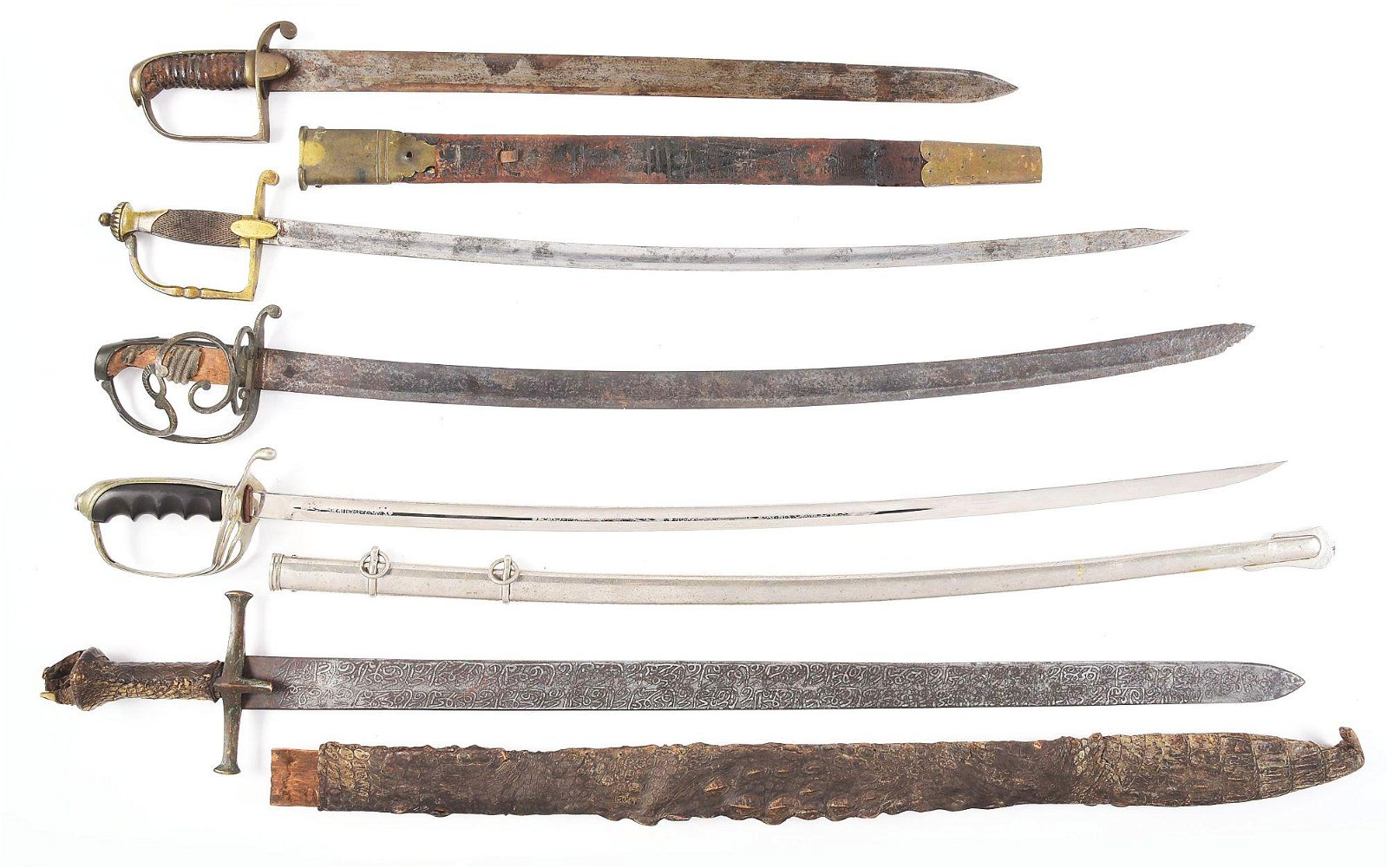 LOT OF 5: US, BRITISH, FRENCH AND SUDANESE SWORDS.