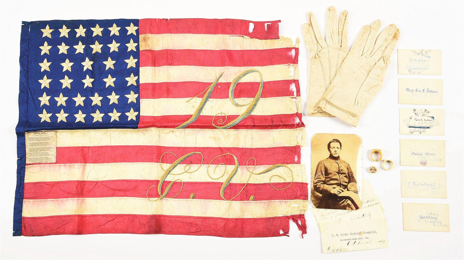 A RARE TIFFANY GUIDE FLAG OF THE 19TH CONNECTICUT &