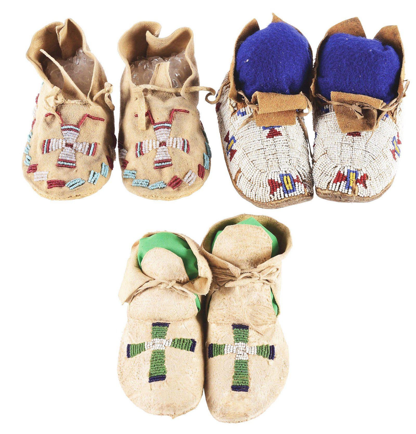 LOT OF 3: PAIRS OF BEADED CHILD'S MOCCASINS.