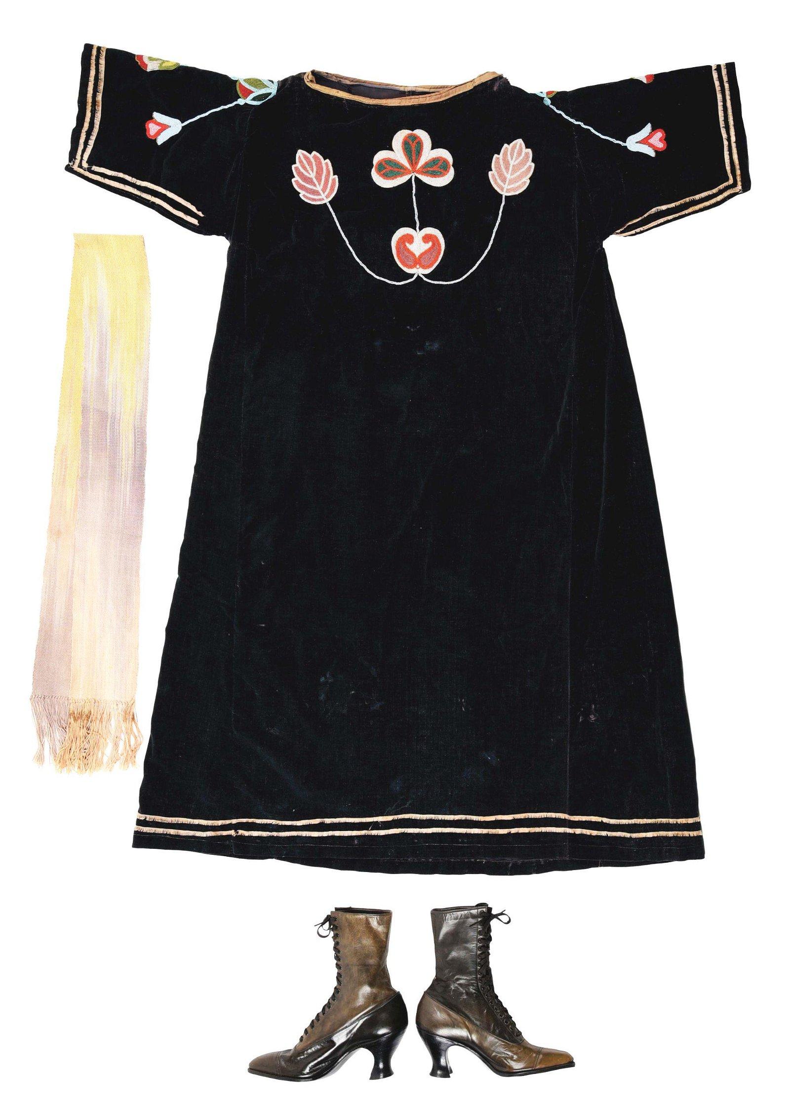 LOT OF 3: PLATEAU WOMAN'S BEADED CLOTH DRESS, SASH AND