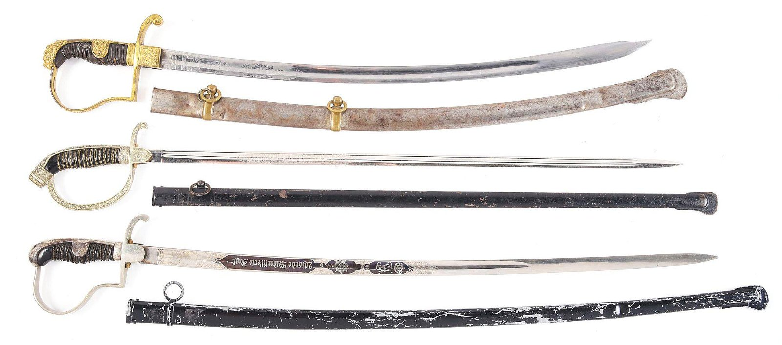 LOT OF 3: IMPERIAL GERMAN PRUSSIAN AND BAVARIAN SWORDS.
