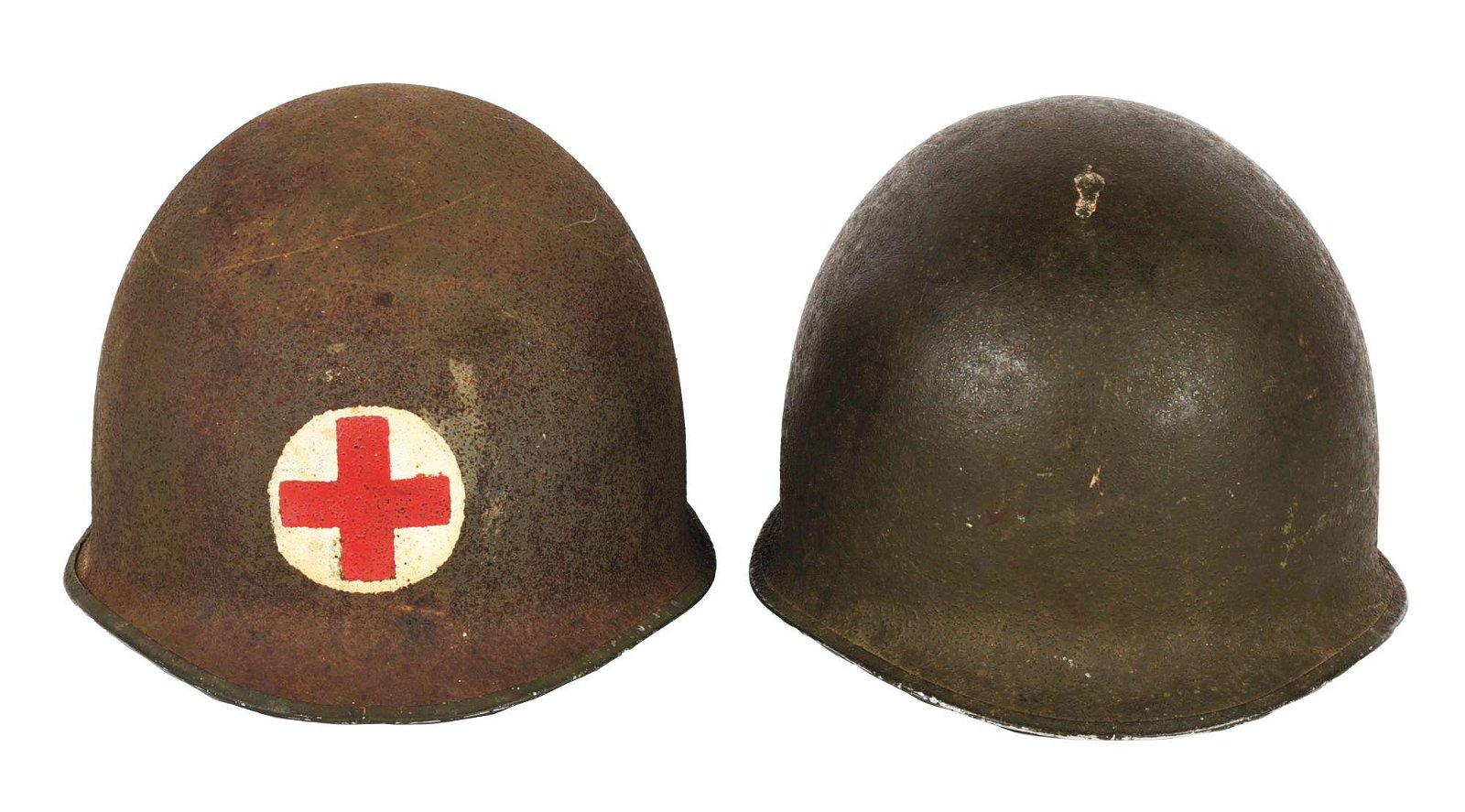 LOT OF TWO WORLD WAR II HELMETS WITH LINERS: M1 FIXED
