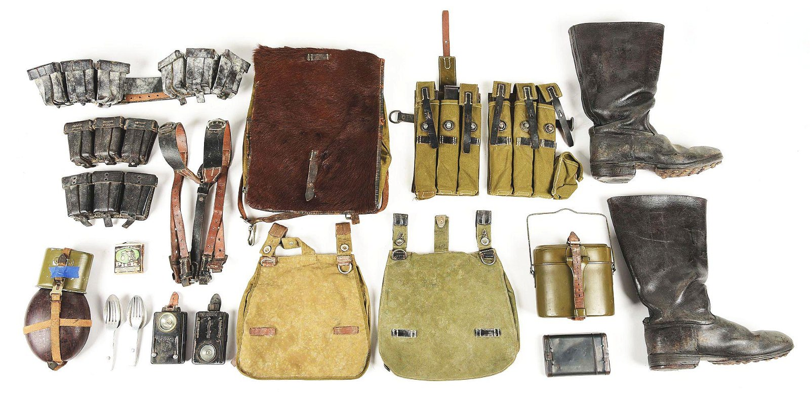 LOT OF WORLD WAR II GERMAN MILITARY GEAR AND BOOTS.