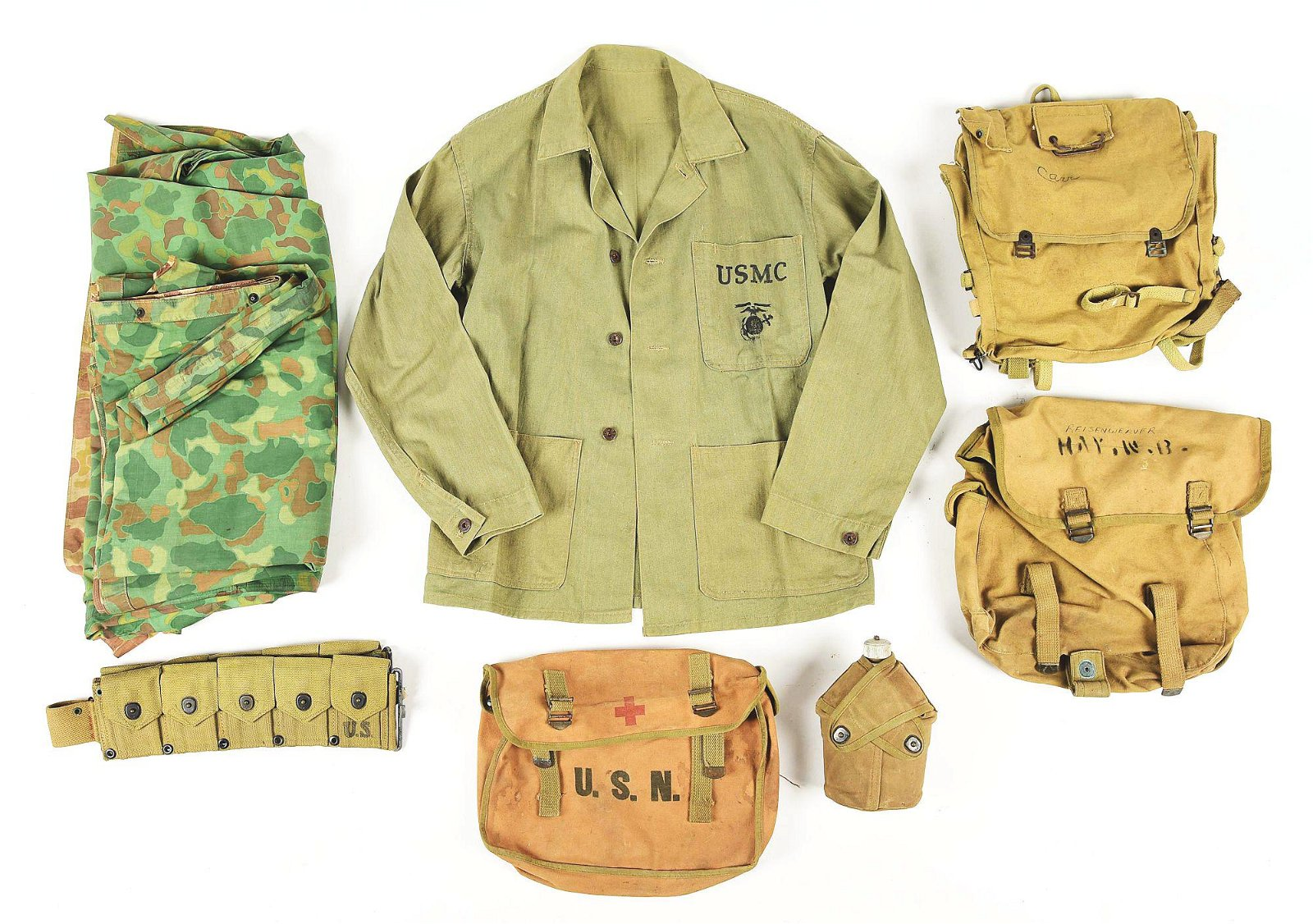 LOT OF WORLD WAR II US NAVY AND USMC UNIFORMS AND FIELD