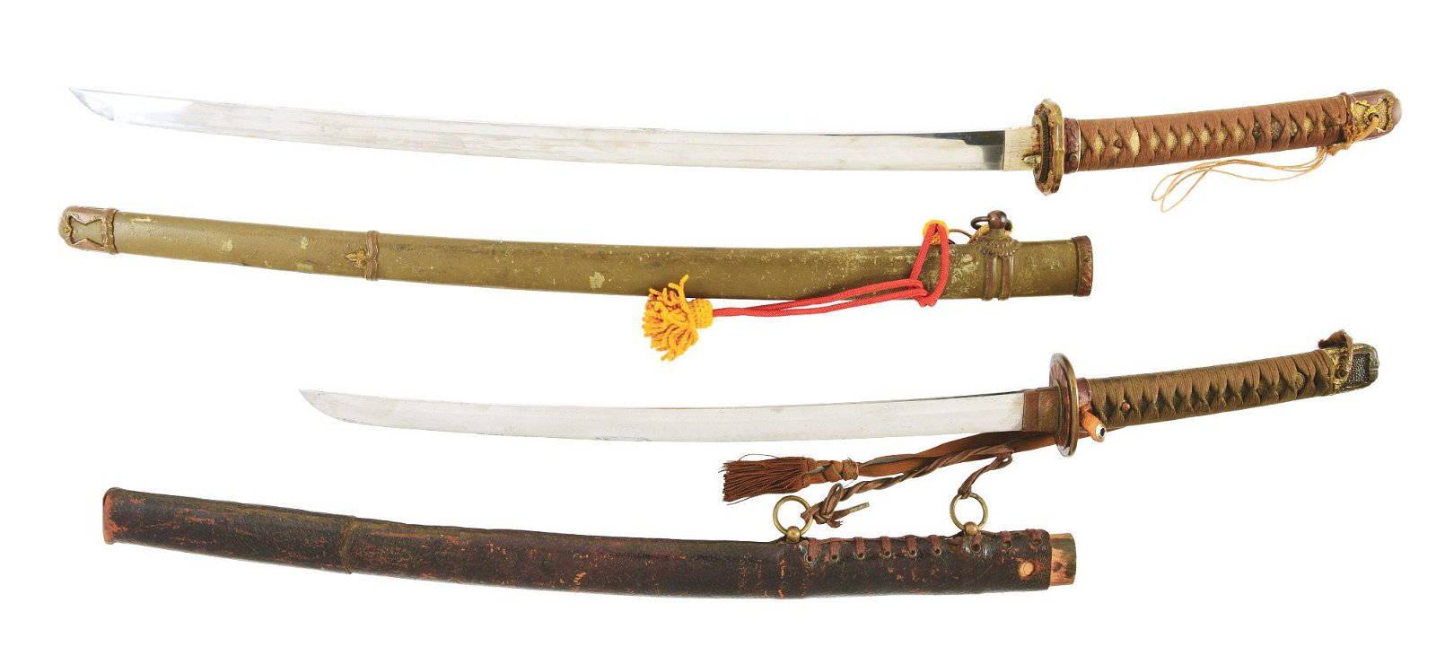 LOT OF TWO JAPANESE SWORDS, ONE WAKIZASHI AND ONE