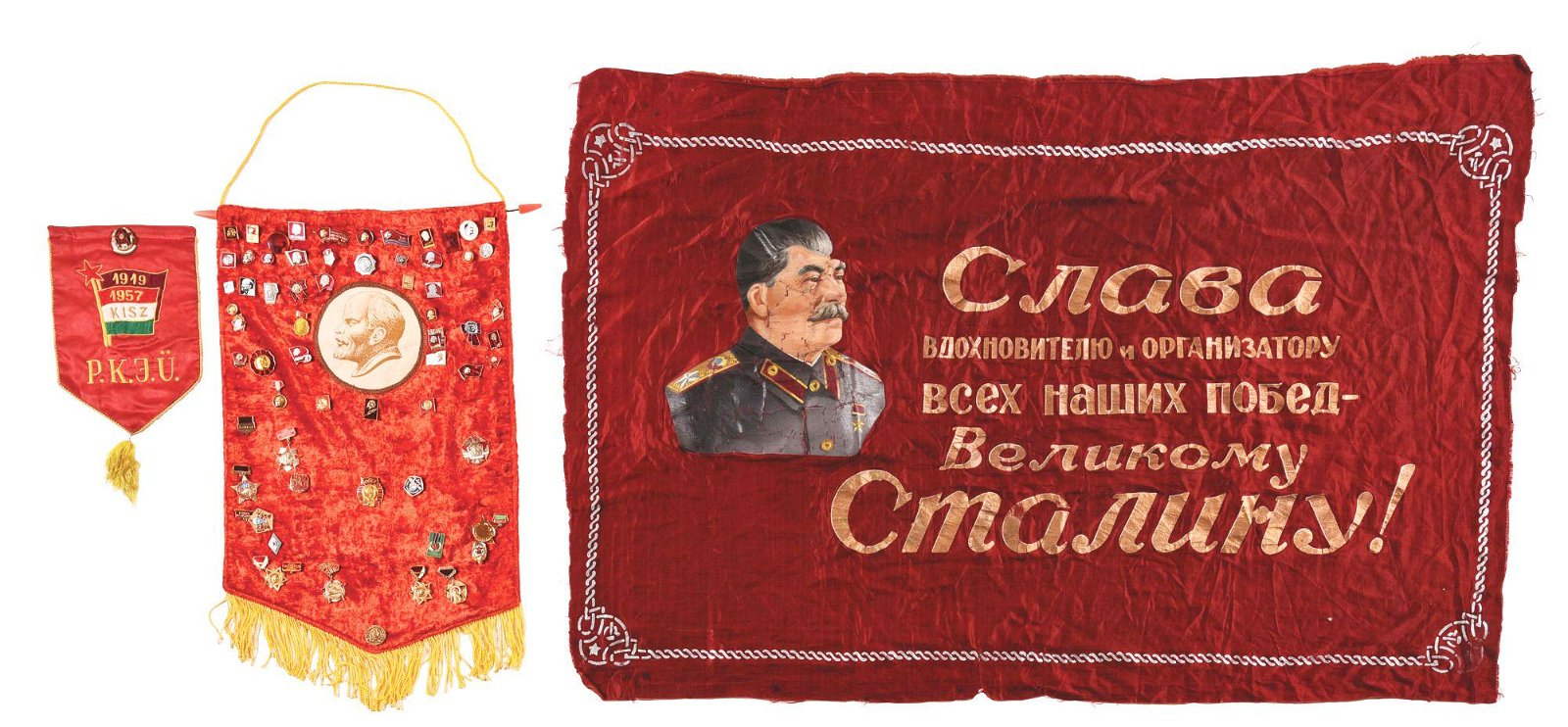 LOT OF THREE COLD WAR ERA RUSSIAN SOVIET BANNERS