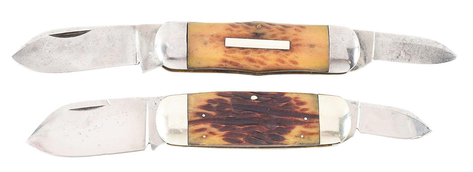 """LOT OF 2: AMERICAN EARLY FOLDING """"SUNFISH"""" KNIVES BY"""