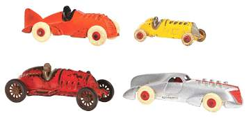 LOT OF 4: CAST-IRON HUBLEY RACE CARS.