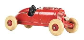 SCARCE CAST-IRON HUBLEY RACE CAR TOY.