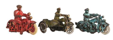 LOT OF 3: CAST-IRON HUBLEY HARLEY-DAVIDSON MOTORCYCLE