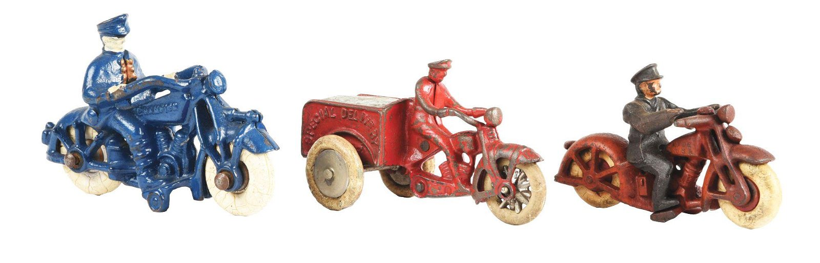 LOT OF 3: AMERICAN MADE CAST-IRON MOTORCYCLE TOYS.