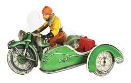 GERMAN TIN LITHO TIPPCO POST-WAR WIND-UP MOTORCYCLE
