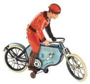 """PRE-WAR GERMAN LEHMANN """"ECHO"""" TIN LITHO MOTORCYCLE TOY."""