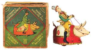 GERMAN LEHMANN TIN LITHO WINDUP PADDY DANCING PIG TOY