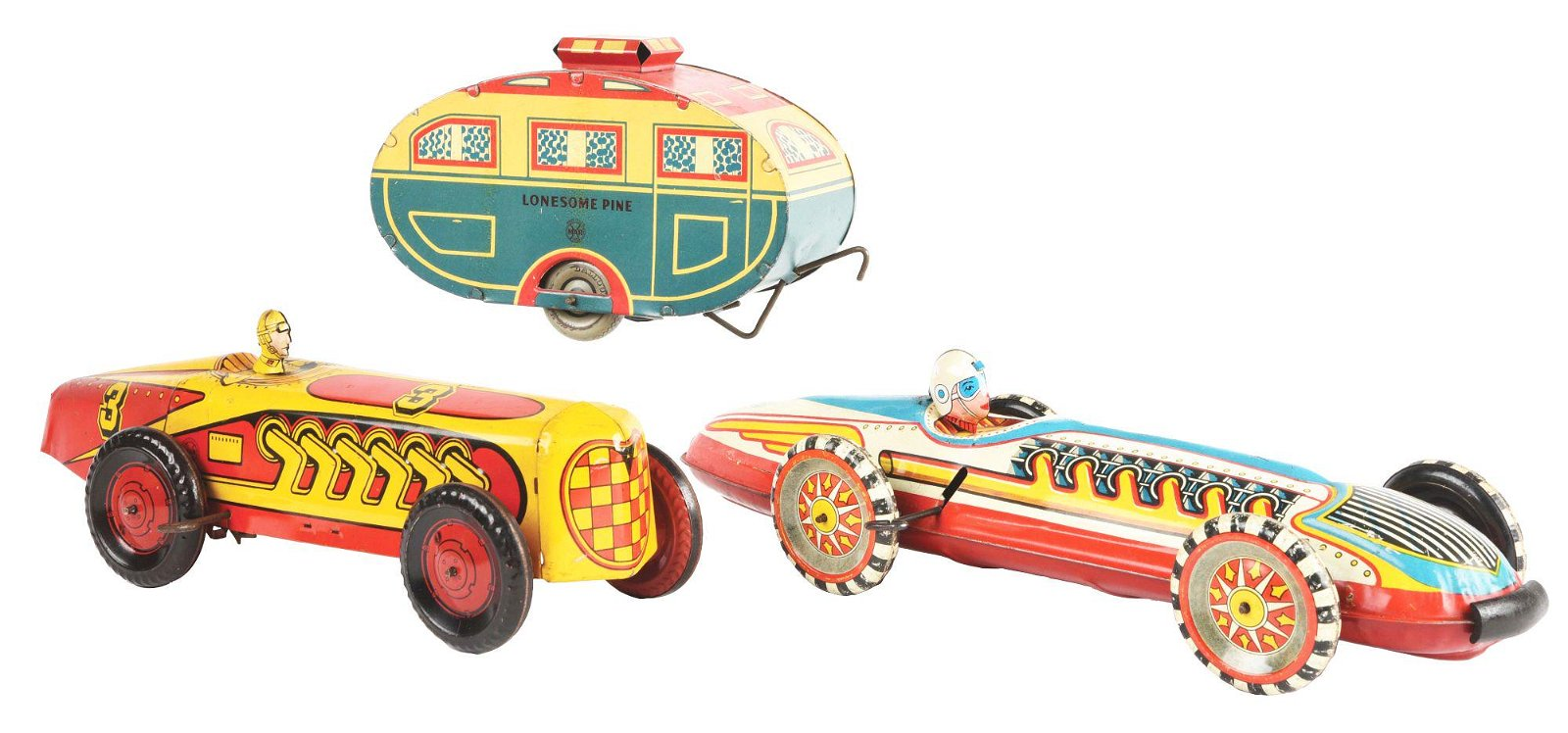 LOT OF 3: MARX TIN LITHO VEHICLE TOYS.