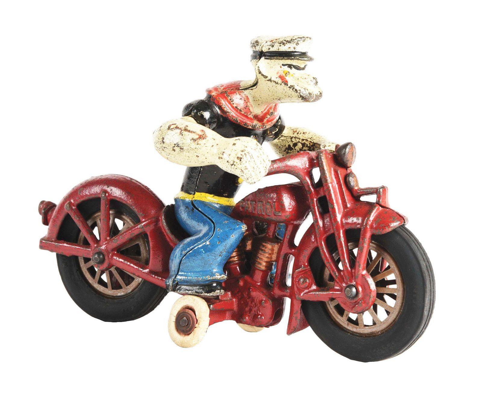 CAST-IRON HUBLEY POPEYE PATROL MOTORCYCLE TOY.